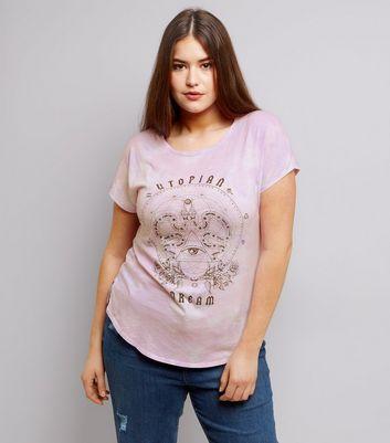 Curves Pink Tie Dye Zodiac Print T-Shirt