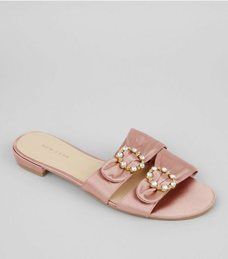 Pink Satin Diamante Circle Mules | New Look