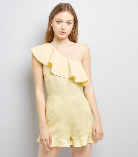 Yellow Frill Trim Off the Shoulder Playsuit  | New Look