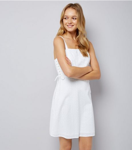 White Tie Side Skater Dress  | New Look