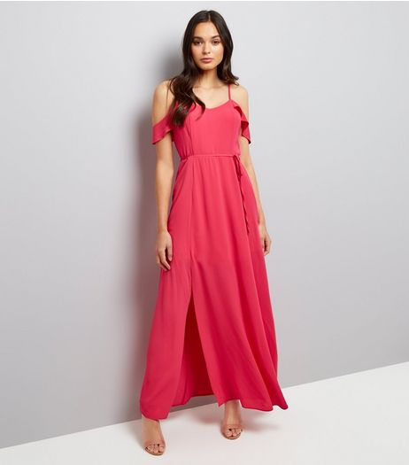 Pink Frill Strap Cold Shoulder Maxi Dress | New Look