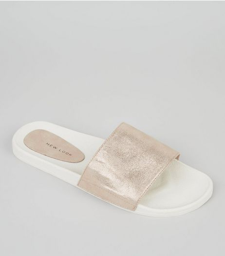 Gold Metallic Pool Sliders | New Look