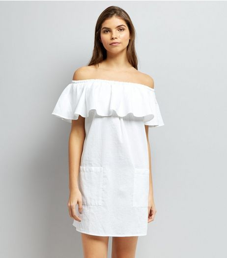 White Frill Trim Bardot Neck Dress | New Look
