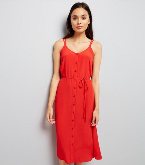 Red Button Front Tie Waist Midi Dress  | New Look