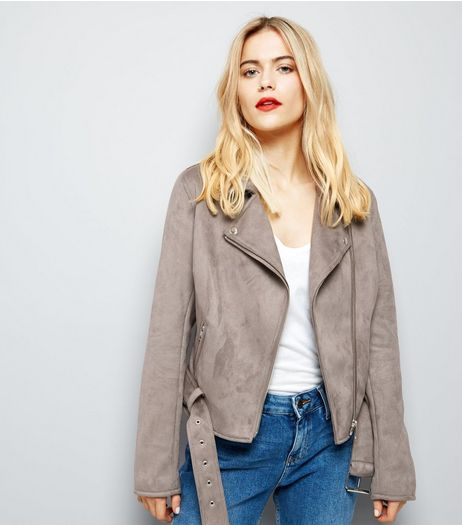 Grey Suedette Biker Jacket | New Look