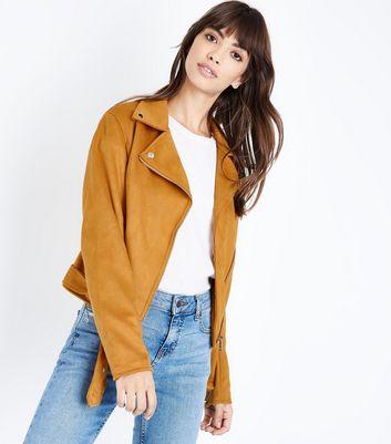 Yellow Suedette Biker Jacket