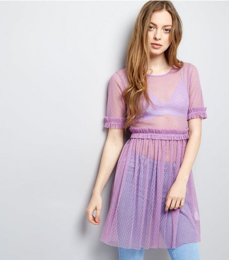 Purple Spot Mesh Frill Trim Skater Dress | New Look
