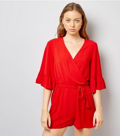 Red Bell Sleeve Wrap Front Playsuit  | New Look