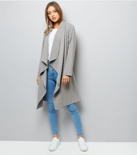 Grey Waterfall Belted Duster Coat | New Look