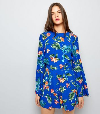 Blue Tropical Floral Tie Waist Playsuit