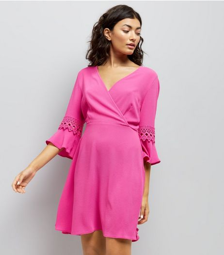 Pink Crochet Bell Sleeve Skater Dress | New Look