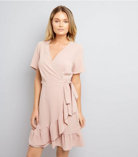 Shell Pink Frill Hem Wrap Dress | New Look