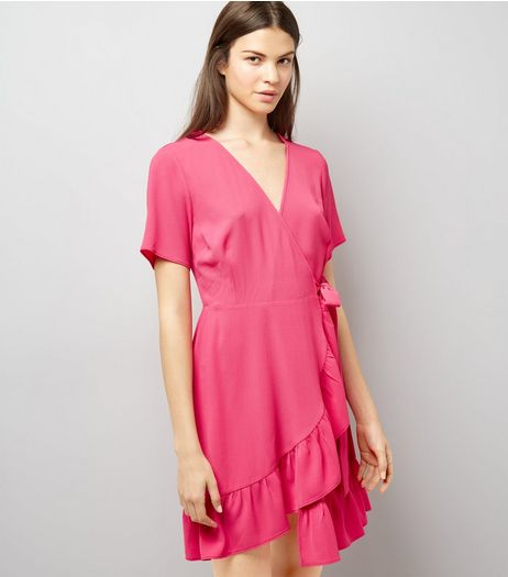 Pink Frill Hem Wrap Dress | New Look