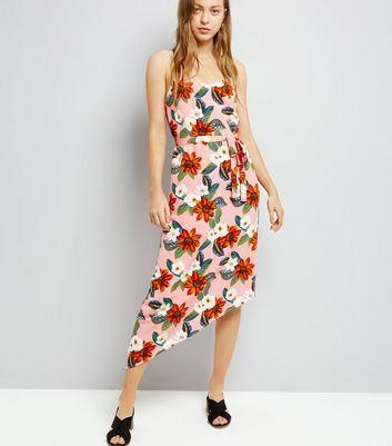 Pink Tropical Print Asymmetric Hem Midi Dress