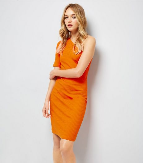 Orange Ribbed One Shoulder Bodycon Dress | New Look