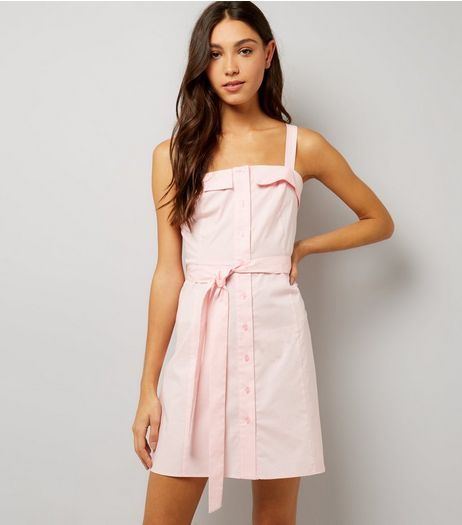 Pink Button Front Tie Waist Shift Dress  | New Look