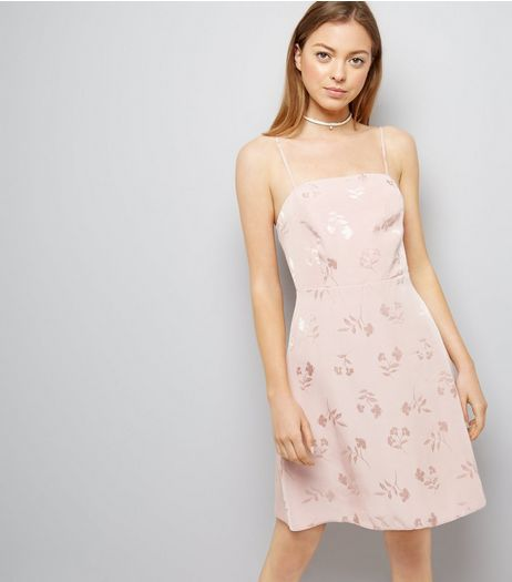 Pink Floral Jacquard Slip Dress | New Look