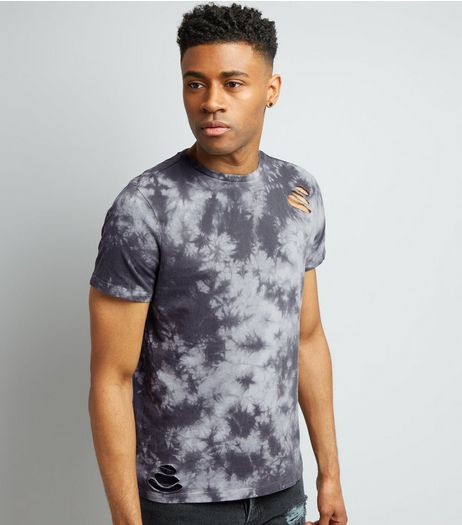 Grey Tie Dye Ripped T-Shirt | New Look