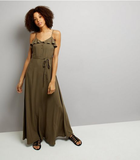 Khaki Frill Trim Maxi Dress | New Look