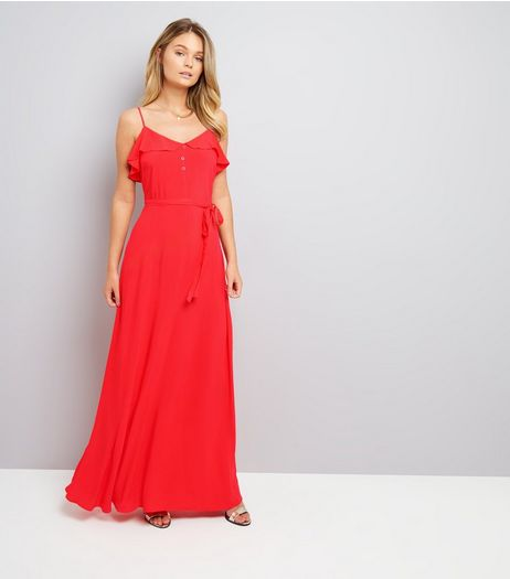 Red Frill Trim Maxi Dress | New Look