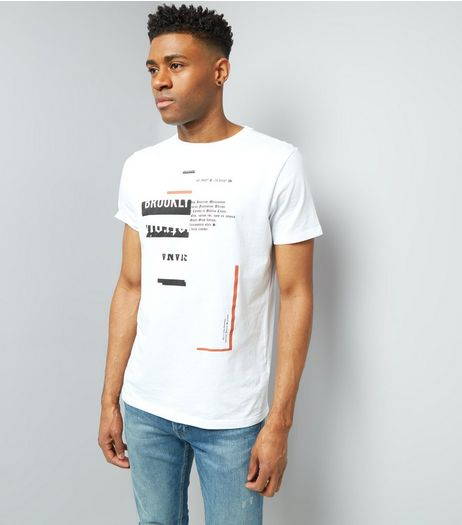 White Spliced Brooklyn Print T-Shirt | New Look