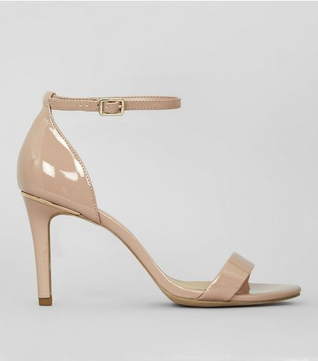 Wide Fit Nude Pink Patent Metal Trim Heels | New Look
