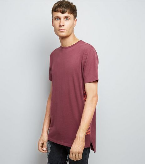 Red Blackout Print Longline T-Shirt | New Look