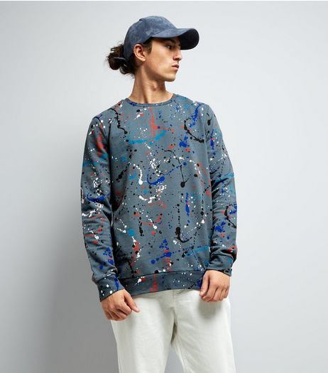 Blue Splatter Print Sweater | New Look