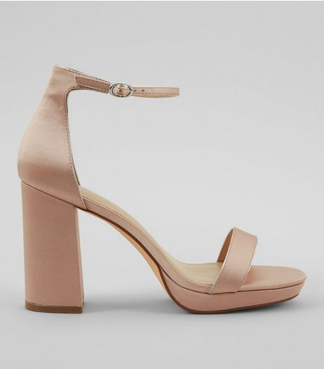 Nude Ankle Strap Block Heels | New Look