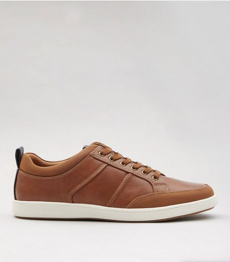 Tan Lace Up Trainers  | New Look