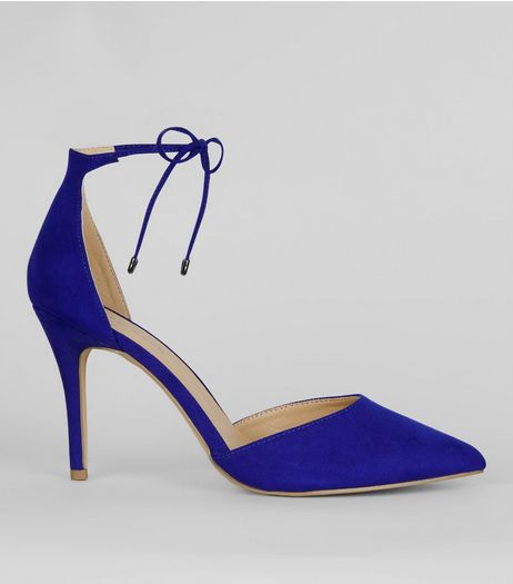 Blue Suedette Pointed Toe Ankle Tie Heels | New Look
