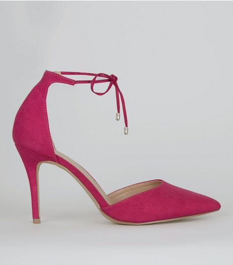 Pink Suedette Pointed Toe Ankle Tie Heels | New Look
