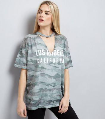 Khaki Slogan Camo Print Choker Neck T-Shirt