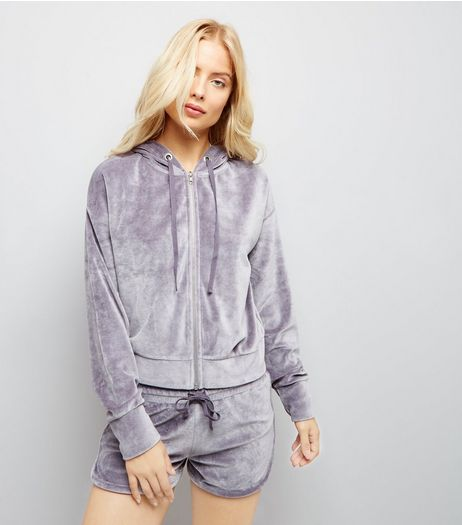 Grey Velour Zip Front Hoodie | New Look