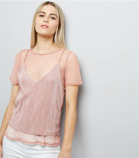 Pink Spot Print Mesh T-Shirt | New Look