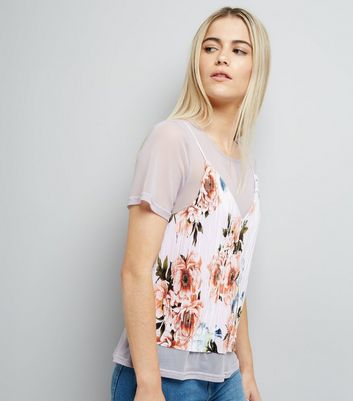 Shell Pink Mesh and Plisse Floral Print Cami Top
