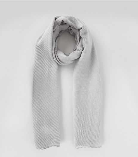 Grey Ribbed Long Line Scarf  | New Look