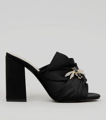 Wide Fit Black Bumble Bee Embellished Block Heel Mules | New Look