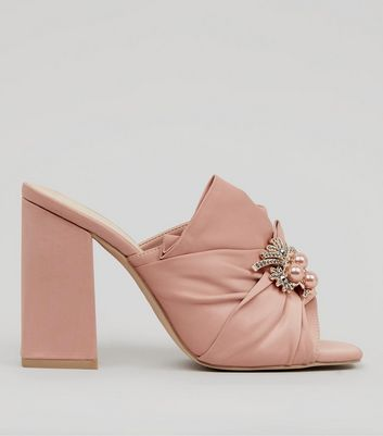 Wide Fit Pink Satin Embellished Heeled Mules | New Look