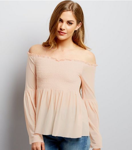 Deep Pink Mesh Shirred Bardot Neck Top  | New Look