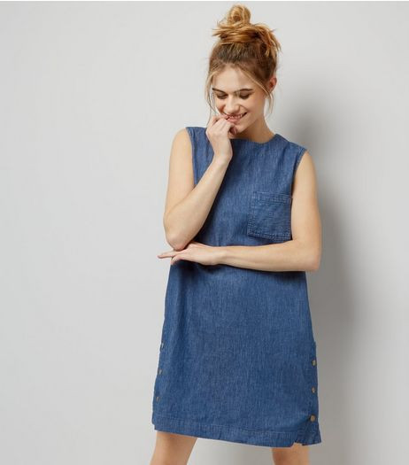 Apricot Blue Popper Side Trim Single Pocket Shift Dress | New Look