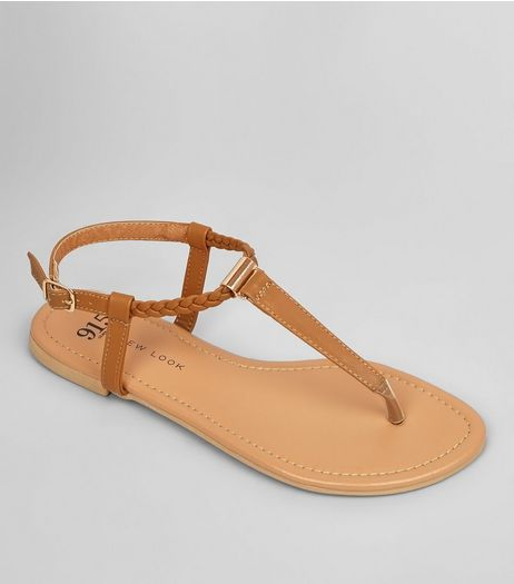 Teens Tan Plait Strap Sandals | New Look