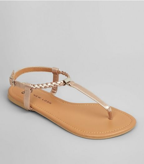 Teens Rose Gold Plait Strap Sandals | New Look