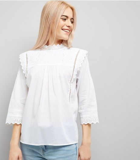 White Cut Out Embroidered High Neck Top | New Look