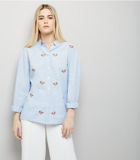 Blue Floral Embroidered Shirt | New Look