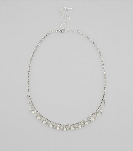 Silver Crystal and Pearl Necklace | New Look