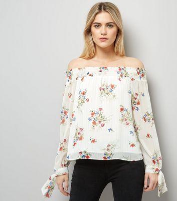 White Floral Print Bardot Tie Sleeve Top