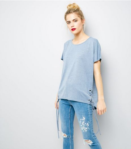 Blue Eyelet Lace Up Side T-Shirt | New Look