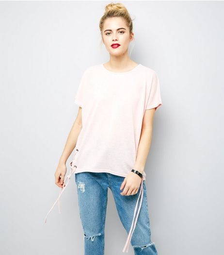 Pink Eyelet Lace Up Side T-Shirt | New Look