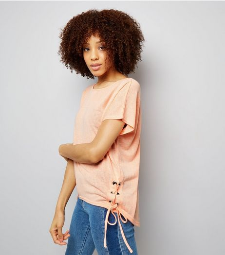 Coral Eyelet Lace Up Side T-Shirt | New Look